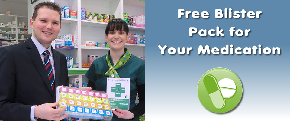 free medication blister pack at whelans pharmacy gorey chemists